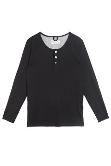 AWESOME IMAGINATIONWASHED COTTON HENLEY NECK T-SHIRTS black