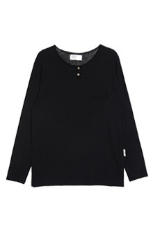 AWESOME IMAGINATIONVINTAGE BB HENLEY NECK T-SHIRTSBlack